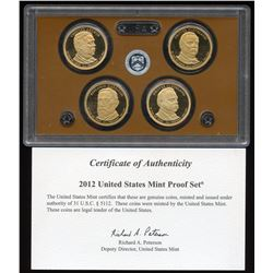2012-S U.S. Mint Presidential Dollar 4 Coin Set with COA