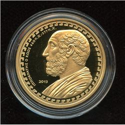 2013 Greece 200 Euro Hippocrates 22-karat Gold coin Commemorating Hippocrates of Cos
