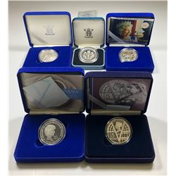 Lot of 5 British Royal Mint Silver Commemorative coins