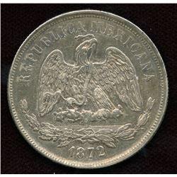 1872 Mexico Libertad Mexican Coin - Un Peso