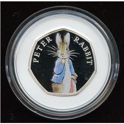 Great Britain Peter Rabbit 50 Pence Coloured Silver Coin