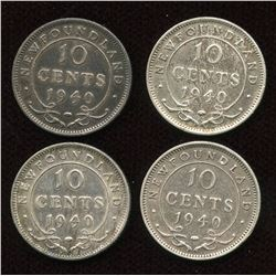 1940 Newfoundland Ten Cents Re-Engraved Date - Lot of 4