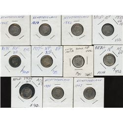 Newfoundland Ten Cents - Lot of 11