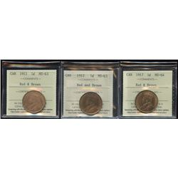 ICCS Graded One Cent - Lot of 3