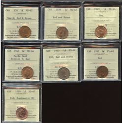 ICCS Graded One Cent - Lot of 7