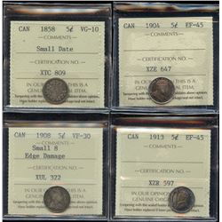 ICCS Graded Five Cents - Lot of 4
