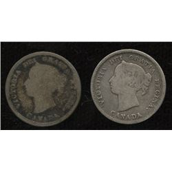 Lot of 2 Semi - Key Date Five Cent Silvers