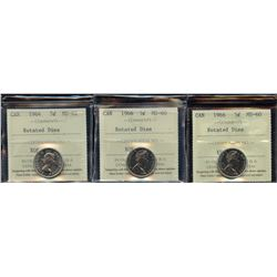 Lot of 3 - ICCS Graded Rotated Dies Five Cents
