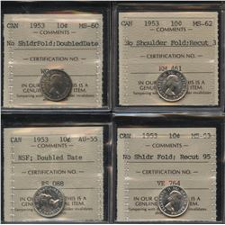 1953 Ten Cents - Lot of 4 ICCS Graded NSF Varieties