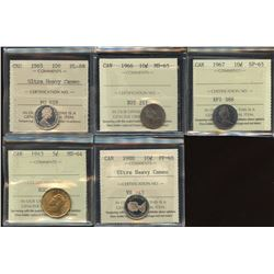 Lot of 5 ICCS Graded Coins