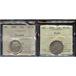 Lot of 2 - ICCS Graded Twenty-Five Cents