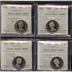 Lot of 4 - ICCS Graded Twenty-Five Cents Ultra Heavy Cameo's