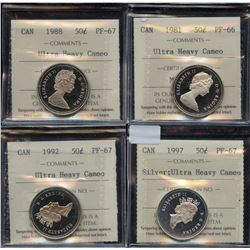 Lot of 4 - ICCS Graded Fifty Cents Ultra Heavy Cameo's