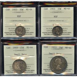 Lot of 4 - ICCS Graded 1953 Coins