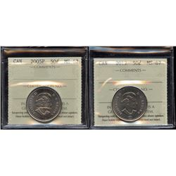 2005P & 2012 Fifty Cents ICCS Graded MS-67