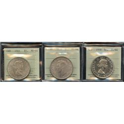 Lot of 3 ICCS Graded Commemorative Silver Dollars