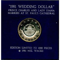 "1981 Silver Dollar Counterstamped ""Wedding Dollar"""