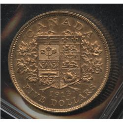 1912 Bank of Canada $5 Gold