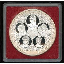 1978 $50 Silver Proof Coin Cayman Islands Six Queens