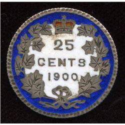 1900 Enameled Victoria Twenty Five Cents