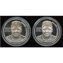 Roger Clemens Boston Red Sox Cy Young Award Fine Silver Round - Lot of 2