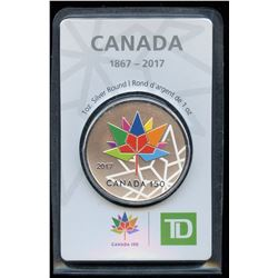 TD Bank Canada 150 Coloured Silver 1 oz. Fine Silver Round