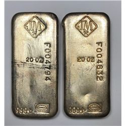 Serial Numbered JM Refining Vintage 20 oz 999+ Fine Silver Bars - Lot of 2