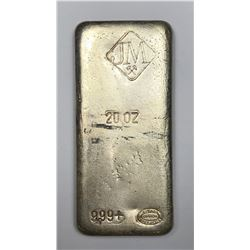 Johnson Matthey 20 oz. Poured Silver Bar