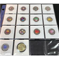 RCM lot of 13 colour/painted quarters (25-cents) + 1 special Loonie, individual pieces only (2007-20