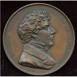 1851 Belgium Medal to Honor Charles Rogier, Minister of Interior, by Jovenel