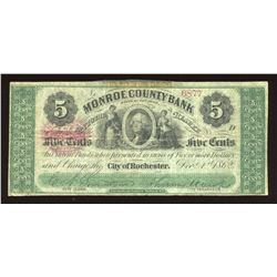 Monroe County Bank 5¢ City of Rochester DEC 1,1862 & Bonus