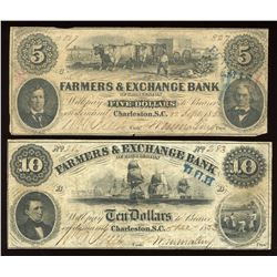 1853 $5 & $10 The Farmers' & Exchange Bank of Charleston