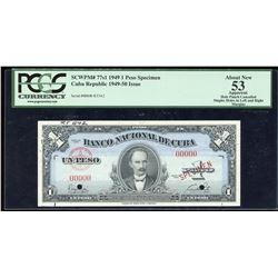 1949 Cuba, 1 Peso SPECIMEN Cuban Note