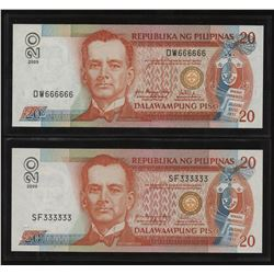 2009 PHILIPPINES 20 Pesos - Lot of 2 Solid Serial #'s Arroyo Tetangco
