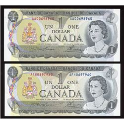 Bank of Canada $1, 1973 Radar Pair