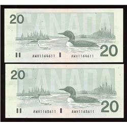 Bank of Canada $20, 1991 Radar Pair