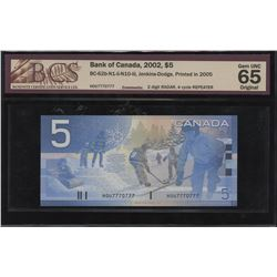 Bank of Canada $5, 2002 Radar, Repeater