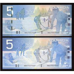 Bank of Canada $5, 2002 & 2006 Matched Radar Pair