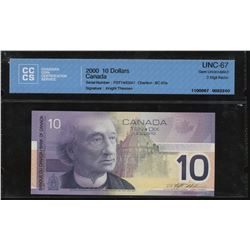 Bank of Canada $10, 2000 - 2 Digit Radar