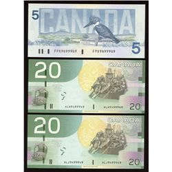 Bank of Canada Identical Serial Number Radar Trio