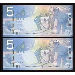 Bank of Canada $5, 2006 Radar Pair
