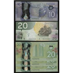 Lot of 5 Near Solid Serial Number Circulated Bank of Canada Notes