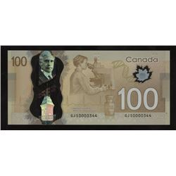 Bank of Canada $100, 2011 Low Serial Number