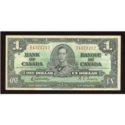 Bank of Canada $1, 1937 Narrow Signature Panel