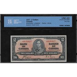 Bank of Canada $2, 1937 Short Run