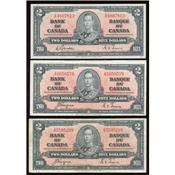 Bank of Canada $2, 1937 - Lot of 3