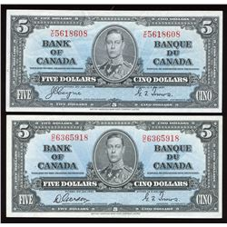 Bank of Canada $5, 1937 - Lot of 2