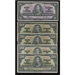 Bank of Canada $10 & $20, 1937 - Lot of 5