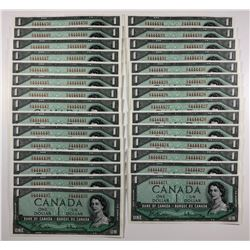 Bank of Canada $1, 1954 - Lot of 29 Notes