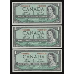 Bank of Canada $1, 1954 - Lot of 3 Consecutive Replacement Notes